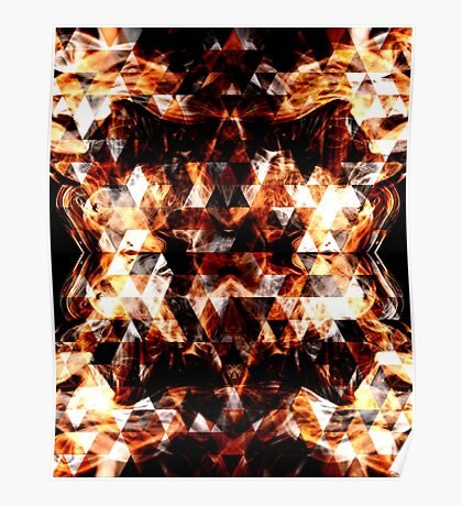 Electrifying orange sparkly triangle fire flames Poster