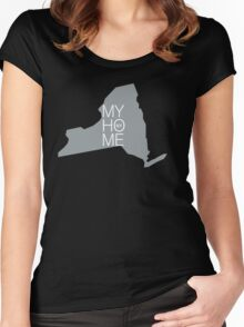 New york my home. State map NY (dark) Women's Fitted Scoop T-Shirt