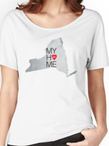 New York my home. State map NY red hearth Women's Relaxed Fit T-Shirt