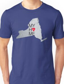 New York my home. State map NY red hearth Unisex T-Shirt