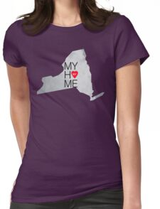 New York my home. State map NY red hearth Womens Fitted T-Shirt