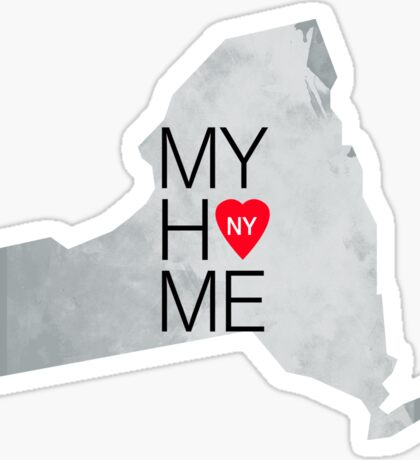 New York my home. State map NY red hearth Sticker