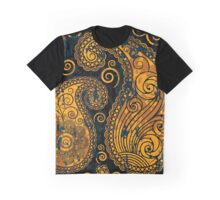 Oriental Persian Paisley, Swirls - Blue Orange Graphic T-Shirt