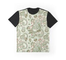 Oriental Persian Paisley, Swirls - Green Pink  Graphic T-Shirt
