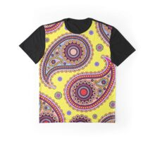Oriental Persian Paisley, Dots - Yellow Blue Pink  Graphic T-Shirt
