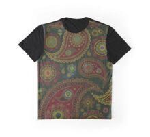 Oriental Persian Paisley, Dots - Blue Green Red  Graphic T-Shirt