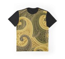 Oriental Persian Paisley, Flowers - Green Yellow  Graphic T-Shirt