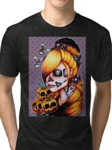 Halloween Pumpkin Background Tri-blend T-Shirt
