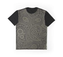 Oriental Persian Paisley, Stars - Black Green  Graphic T-Shirt