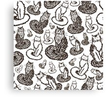 Print with cats sketches Canvas Print