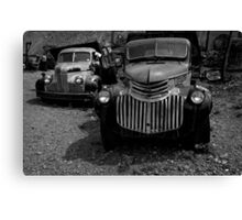 Two Old Trucks BW Canvas Print