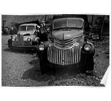 Two Old Trucks BW Poster