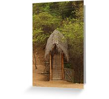 Bamboo Bridge With Thatched Roof Greeting Card