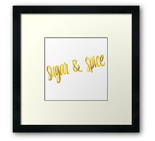 Sugar And Spice Gold Faux Foil Metallic Glitter Quote Isolated on White Background Framed Print