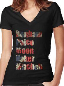 Bonham - Paice - Moon - Baker - Mitchell - British Drumming Legends Women's Fitted V-Neck T-Shirt