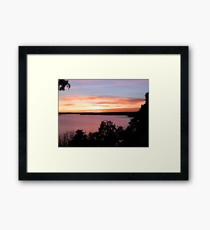Kansas Sunset: Elk City Lake Framed Print