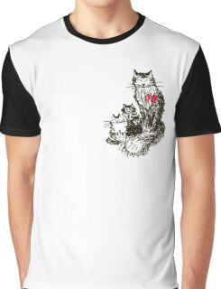 Sketch a cat with kittens. Mother and children Graphic T-Shirt