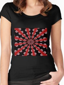 Red Black and White Abstract Women's Fitted Scoop T-Shirt