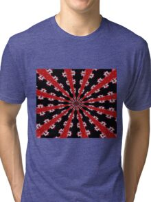 Red Black and White Abstract Tri-blend T-Shirt