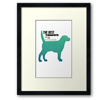 Dogs Are therapists fun colourful design  Framed Print