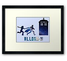 Allons-y Tenth Doctor and Companion Framed Print