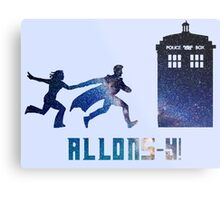 Allons-y Tenth Doctor and Companion Metal Print