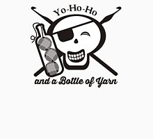 Pirate skull yo ho ho bottle of yarn crochet hooks Womens Fitted T-Shirt