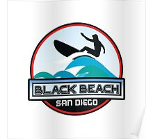 Surfing Black's Beach San Diego California Surf Surfboard Waves Poster