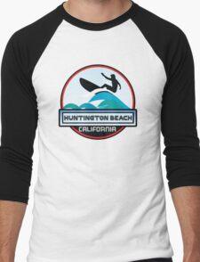 Surfing Huntington Beach California Surf Surfboard Waves Men's Baseball ¾ T-Shirt