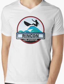 Surfing Rincon Beach California Surf Surfboard Waves Mens V-Neck T-Shirt