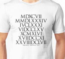 Ancient Roman Numeral in Fibonacci Sequence Unisex T-Shirt