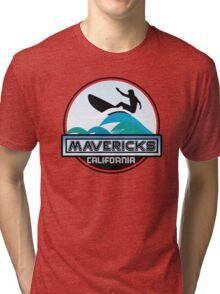 Surfing Mavericks Maverick's California Surf Surfboard Waves Half Moon Bay Tri-blend T-Shirt