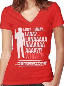 LANAAAAAAA!?!... Danger Zone! Women's Fitted V-Neck T-Shirt