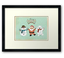 Retro Cute Christmas Characters Framed Print