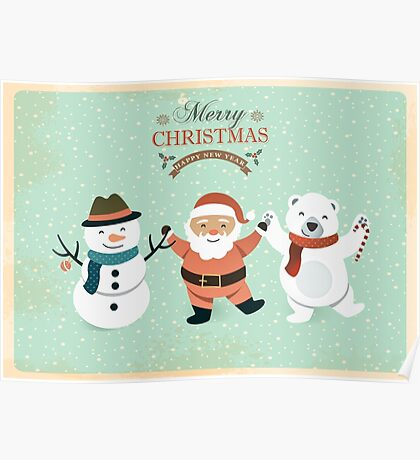 Retro Cute Christmas Characters Poster