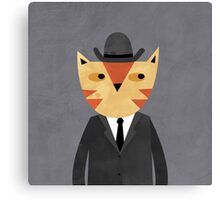 Ginger Cat in a Bowler Hat Canvas Print
