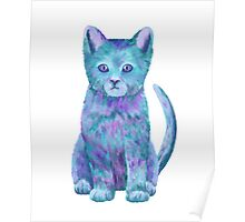 Blue Kitty Isla Poster