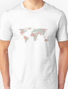 Watercolor World Map Turquoise and Coral  Unisex T-Shirt