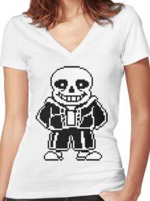 Sans Undertale Women's Fitted V-Neck T-Shirt