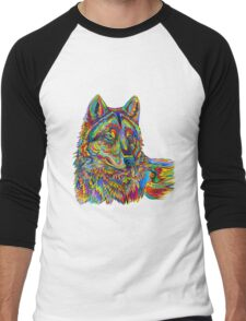Psychedelic Wolf Men's Baseball ¾ T-Shirt