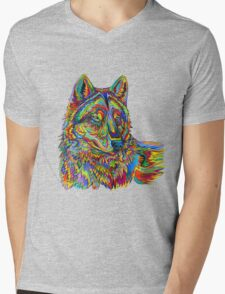 Psychedelic Wolf Mens V-Neck T-Shirt