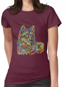 Psychedelic Wolf Womens Fitted T-Shirt