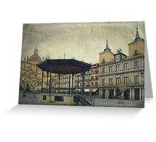 Plaza Mayor de Segovia. A foggy day. Greeting Card