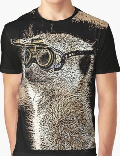 Steampunk Mongoose with Goggles and Attitude Graphic T-Shirt
