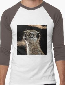 Steampunk Mongoose with Goggles and Attitude Men's Baseball ¾ T-Shirt