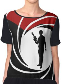 Han Solo - James Bond - Mix up - Death - Minimal - Star Wars - 007 - Black White Red Chiffon Top