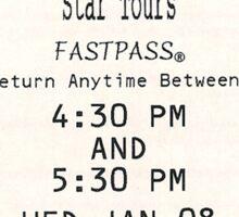 Star Tours Fastpass Sticker