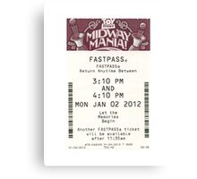 Toy Story Midway Mania Fastpass Canvas Print