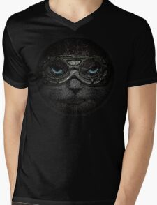 Sulky Steampunk Moggie with Goggles and Attitude Mens V-Neck T-Shirt
