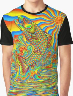 Psychedelic Rainbow Trout Graphic T-Shirt